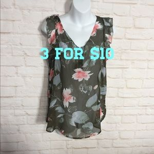 New York & Company floral sleeveless blouse small